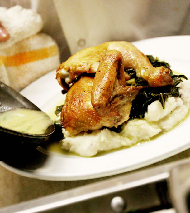 chicken over collards & mashed potatoes